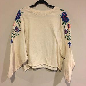 Zara Oversized Cream Embroidered Sweatshirt